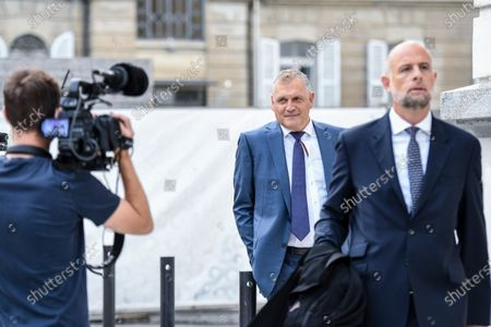 Former Fifa general secretary Jerome Valcke, center, and his lawyers arrive at the Federal Criminal Court in Bellinzona, Switzerland, 14 September 14, 2020. Valcke is accused of qualified disloyalty and incitement, falsification of documents and passive bribery. The Office of the Attorney General of Switzerland opened the proceedings in March 2017.