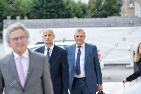 Former Fifa general secretary Jerome Valcke, center right, and his lawyers arrive at the Federal Criminal Court in Bellinzona, Switzerland, 14 September 14, 2020. Valcke is accused of qualified disloyalty and incitement, falsification of documents and passive bribery. The Office of the Attorney General of Switzerland opened the proceedings in March 2017.