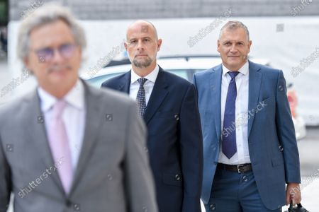 Former Fifa general secretary Jerome Valcke, right, and his lawyers arrive at the Federal Criminal Court in Bellinzona, Switzerland, 14 September 14, 2020. Valcke is accused of qualified disloyalty and incitement, falsification of documents and passive bribery. The Office of the Attorney General of Switzerland opened the proceedings in March 2017.