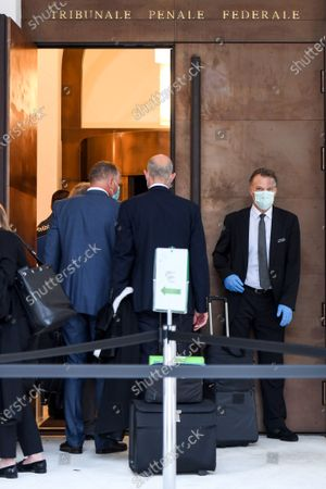 Former Fifa general secretary Jerome Valcke, left, and his lawyers arrive at the Federal Criminal Court in Bellinzona, Switzerland, 14 September 14, 2020. Valcke is accused of qualified disloyalty and incitement, falsification of documents and passive bribery. The Office of the Attorney General of Switzerland opened the proceedings in March 2017.