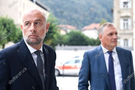 Former Fifa general secretary Jerome Valcke, right, and his lawyer Patrick Hunziker arrive at the Federal Criminal Court in Bellinzona, Switzerland, 14 September 2020. Valcke is accused of qualified disloyalty and incitement, falsification of documents and passive bribery. The Office of the Attorney General of Switzerland opened the proceedings in March 2017.