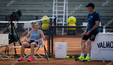 Simona Halep of Romania during practice with coach Darren Cahill at the 2020 Internazionali BNL d'Italia WTA Premier 5 tennis tournament