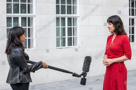 MP Rachel Reeves is interviewed outside the BBC before appearing on the Andrew Marr Show at Broadcasting House.