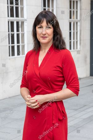 MP Rachel Reeves seen during the interview outside the BBC before appearing on the Andrew Marr Show at Broadcasting House.