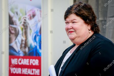 Belgium's Minister of Health, Social Affairs, Asylum Policy and Migration Maggie De Block visits the Covid-19 test centre at Brussels Airport in Brussels, Belgium, 14 September 2020.
