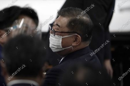 Former Defense Minister Shigeru Ishiba attends the Liberal Democratic Party's (LDP) leadership election September 14, 2020, in Tokyo. The winner will be de facto elected as Japan Prime Minister. Tokyo, JAPAN 14 September 2020.