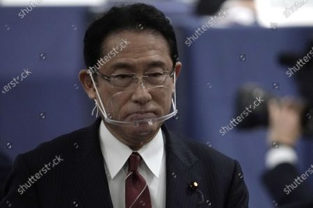 Foreign Minister Fumio Kishida walks off after casting his ballot at the Liberal Democratic Party's (LDP) leadership election September 14, 2020, in Tokyo. The winner will be de facto elected as Japan Prime Minister. Tokyo, JAPAN 14 September 2020.