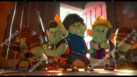 Stock Photo of Jack (Frederik Hamel), Merlin (Sam Claflin) and Arthur (Simon Kassianides)
