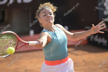 Jasmine Paolini of Italy in action during her Women's Singles first round match against Anastasija Sevastova of Latvia at the Italian Open tennis tournament in Rome, Italy, 14 September 2020.