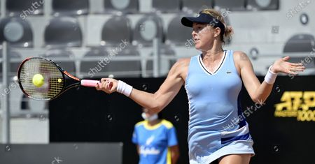 Anastasia Pavlyuchenkova of Russia in action against Shuai Zhang of China in the first round of the Italian Open in Rome, Italy, 14 September 2020.