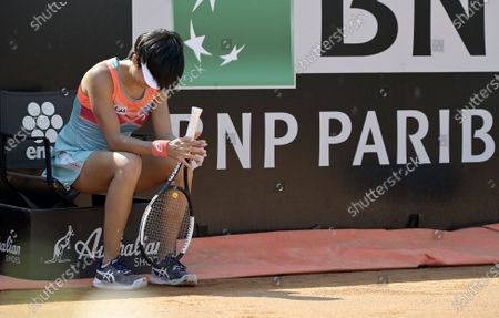 Shuai Zhang of China sits on a linesman's chair during her first round match against  Anastasia Pavlyuchenkova of Russia at the Italian Open in Rome, Italy, 14 September 2020.