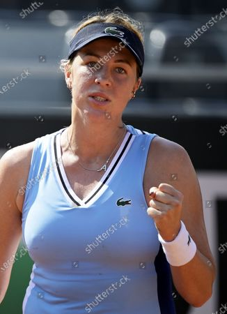 Anastasia Pavlyuchenkova of Russia celebrates a point against Shuai Zhang of China in the first round of the Italian Open in Rome, Italy, 14 September 2020.