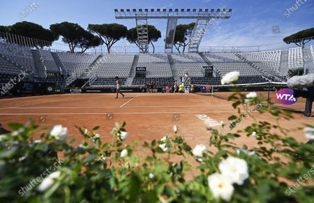 Shuai Zhang (L) of China and Anastasia Pavlyuchenkova (rear) of Russia during their first round match in the Grand Stand Arena at the Italian Open in Rome, Italy, 14 September 2020.