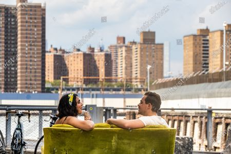 Stock Image of Geraldine Viswanathan as Lucy Gulliver and Dacre Montgomery as Nick
