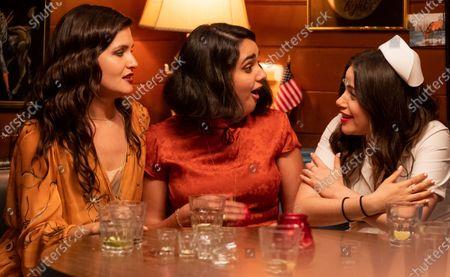 Phillipa Soo as Nadine, Geraldine Viswanathan as Lucy Gulliver and Molly Gordon as Amanda