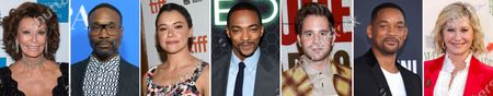 This combination photo of celebrities with birthdays from Sept. 20-26 shows Sophia Loren, from left, Billy Porter, Tatiana Maslany, Anthony Mackie, Ben Platt, Will Smith and Olivia Newton-John