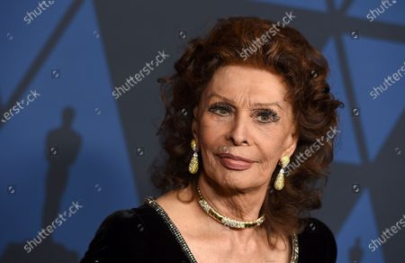 Sophia Loren arrives at the Governors Awards on in Los Angeles. Loren turns 86 on Sept. 20