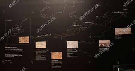 Time line illustration showing the journey of the Mayflower pilgrims from England to the Netherlands, back to England and then from Plymouth to Cape Cod at the Box Museum in Plymouth south west England, . The Mayflower sailed from Plymouth in Sept. 16, 1620, to land near Cape Cod, Massachusetts in Nov.1620. The illustration shows the original plan for two ships, the Mayflower and the Speedwell, the later became unseaworthy after leaving Plymouth