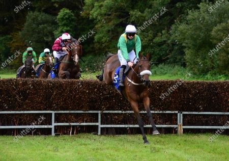 Sligo BENEFIT RUN and Sean O'Keeffe jump the second last to win the Frank O'Beirne Memorial Handicap Steeplechase. Healy Racing