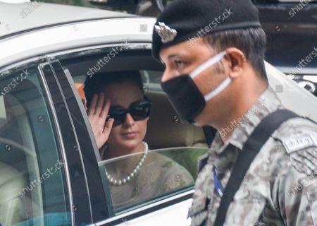 Bollywood actress Kangana Ranaut leaves from her house to meet Maharashtra governor Bhagat Singh Koshyari amid escalating tension between her and the Maharashtra's ruling Shiv Sena, on September 13, 2020 in Mumbai, India.