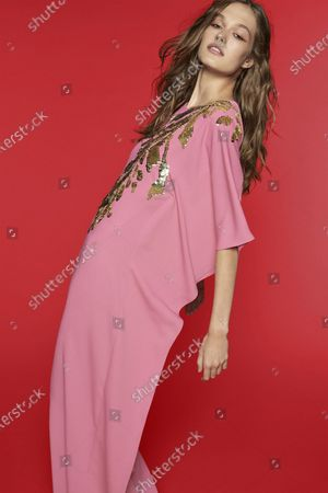 Stock Picture of A Model wearing an outfit from the Womens Ready to wear, pret a porter, collections, summer 2021, original creation, during the Womenswear Fashion Week in New York, from the house of Reem Acra