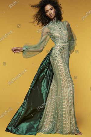 Stock Photo of A Model wearing an outfit from the Womens Ready to wear, pret a porter, collections, summer 2021, original creation, during the Womenswear Fashion Week in New York, from the house of Reem Acra