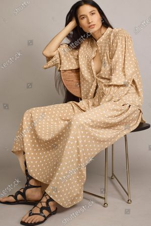 Stock Photo of A Model wearing an outfit from the Womens Ready to wear, pret a porter, collections, summer 2021, original creation, during the Womenswear Fashion Week in New York, from the house of Rebecca Taylor