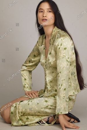 Stock Image of A Model wearing an outfit from the Womens Ready to wear, pret a porter, collections, summer 2021, original creation, during the Womenswear Fashion Week in New York, from the house of Rebecca Taylor