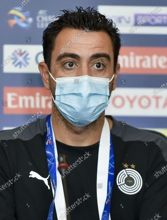 Head coach Xavi Hernandez of Al Sadd attends a press conference ahead of the group D match of AFC Champions League between Al Sadd of Qatar and Al Ain of United Arab Emirates in Doha, capital of Qatar, Sept. 14, 2020.