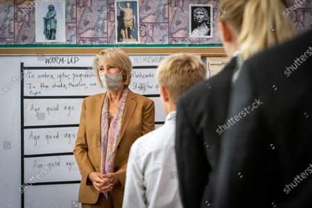 U.S. Secretary of Education Betsy DeVos visits a classroom at Sacred Heart Academy, a Catholic K-12 school in Grand Rapids, Michigan on September 14, 2020 to witness how the school utilized protocols to safely reopen during the coronavirus pandemic.