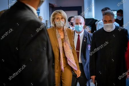 U.S. Secretary of Education Betsy DeVos visits Sacred Heart Academy, a Catholic K-12 school in Grand Rapids, Michigan on September 14, 2020 to witness how the school utilized protocols to safely reopen during the coronavirus pandemic.