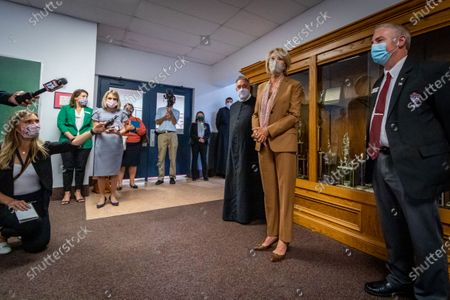 U.S. Secretary of Education Betsy DeVos takes questions from the press after she visits Sacred Heart Academy, a Catholic K-12 school in Grand Rapids, Michigan on September 14, 2020 to witness how the school utilized protocols to safely reopen during the coronavirus pandemic.