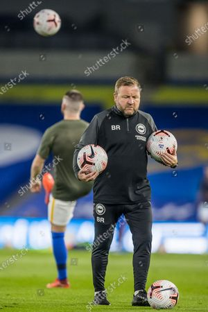 Billy Reid, Assistant Head Coach of Brighton & Hove Albion FC during warm up ahead of the Premier League match between Brighton and Hove Albion and Chelsea at the American Express Community Stadium, Brighton and Hove
