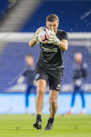 Ben Roberts, Goalkeeping Coach of Brighton & Hove Albion FC during warm up ahead of the Premier League match between Brighton and Hove Albion and Chelsea at the American Express Community Stadium, Brighton and Hove