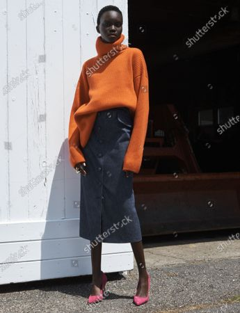 A Model wearing an outfit from the Womens Ready to wear, pret a porter, collections, summer 2021, original creation, during the Womenswear Fashion Week in New York, from the house of Carolina Herrera