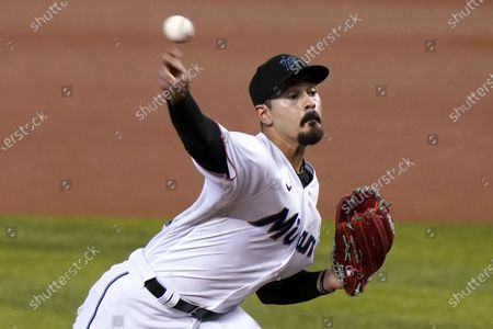 Miami Marlins starting pitcher Pablo Lopez throws during the first inning of a baseball game against the Philadelphia Phillies, in Miami