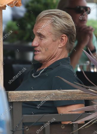 Dolph Lundgren is seen dining out in Beverly Hills