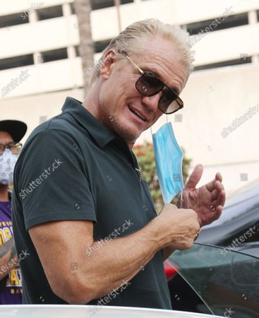 Stock Image of Dolph Lundgren is seen dining out in Beverly Hills