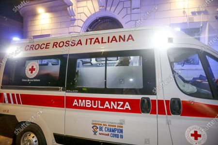 Stock Picture of Aurelio De Laurentiis reaches his home in Rome by ambulance