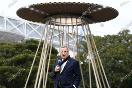 AOC President John Coates stands in front of the Sydney 2000 Olympic Cauldron is it's lit as part of the 20th Anniversary celebrations celebrating 20 years since the Opening Ceremony at Cathy Freeman Park in Sydney, Australia, 15 September 2020.