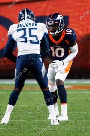 Denver Broncos wide receiver Jerry Jeudy (10) lines up Tennessee Titans cornerback Chris Jackson (35) during the first half of an NFL football game, in Denver