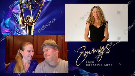 "Stock Photo of Jeannie Gaffigan and Jim Gaffigan present the award for Outstanding Short Form Nonfiction Or Reality Series to Sarah Lavoie for ""National Geographic Presents Cosmos: Creating Possible Worlds"" during the first night of the 2020 Creative Arts Emmy Awards, streamed live on Emmys.com on"