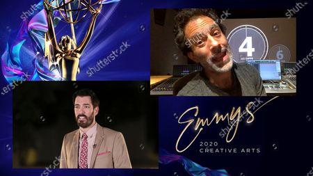 "Drew Scott presents the award for Outstanding Sound Mixing For A Nonfiction Or Reality Program (Single or Multi-Camera) to Eric Milano for ""Apollo 11"" during the first night of the 2020 Creative Arts Emmy Awards, streamed live on Emmys.com on"