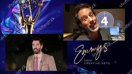 "Drew Scott presents the award for Outstanding Sound Editing For A Nonfiction Or Reality Program (Single Or Multi-Camera) to Eric Milano for ""Apollo 11"" during the first night of the 2020 Creative Arts Emmy Awards, streamed live on Emmys.com on"