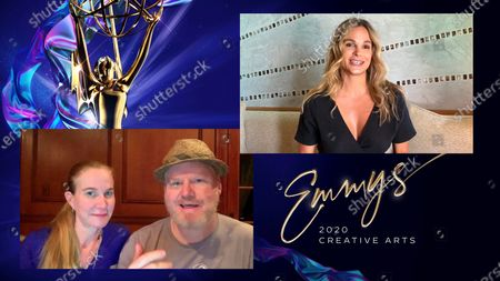 """Jeannie Gaffigan and Jim Gaffigan present the award for Outstanding Short Form Nonfiction Or Reality Series to Goloka Bolte for """"RuPaul's Drag Race"""" during the first night of the 2020 Creative Arts Emmy Awards, streamed live on Emmys.com on"""