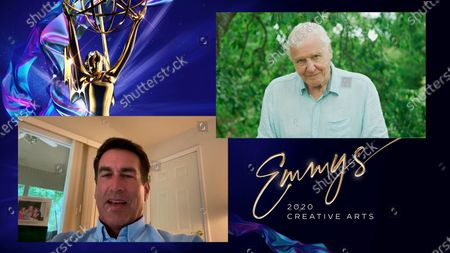 "Rob Riggle presents the award for Outstanding Narrator to David Attenborough for ""Seven Worlds, One Planet"" for ""Antarctica"" during the first night of the 2020 Creative Arts Emmy Awards, streamed live on Emmys.com on"