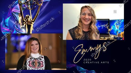 "Gina Carano presents the award for Outstanding Picture Editing For A Structured Reality Or Competition Program to Jamie Martin for ""RuPaul's Drag Race"" for ""I'm That Bitch"" during the first night of the 2020 Creative Arts Emmy Awards, streamed live on Emmys.com on"