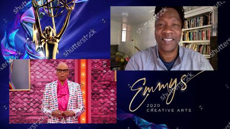 "RuPaul presents the award for Outstanding Documentary Or Nonfiction Special to Roger Ross Williams for ""The Apollo"" during the first night of the 2020 Creative Arts Emmy Awards, streamed live on Emmys.com on"