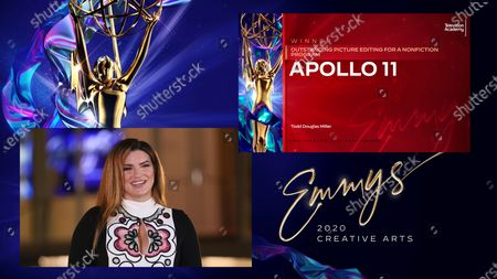 "Stock Image of Gina Carano presents the award for Outstanding Picture Editing For A Nonfiction Program to the team from ""Apollo 11"" during the first night of the 2020 Creative Arts Emmy Awards, streamed live on Emmys.com on"