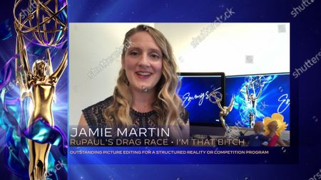 """Jamie Martin accepts the award for Outstanding Picture Editing For A Structured Reality Or Competition Program for """"RuPaul's Drag Race"""" for """"I'm That Bitch"""" during the first night of the 2020 Creative Arts Emmy Awards, streamed live on Emmys.com on"""